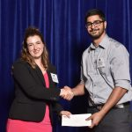 AIBC Events and Outreach Specialist Laura-Beth McDonald presents the AIBC Achievement Award in Architectural Science to BCIT student Jivan Khera at an award ceremony held on June 22, 2016. More photos can be viewed on Flickr
