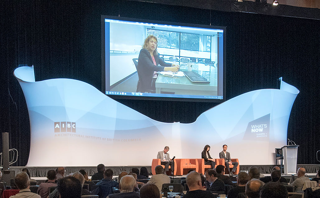Image: Nana Last onscreen during the Fluidity and Architecture plenary session October 29, 2015 at the AIBC Annual Conference. Photo by Jay Shaw