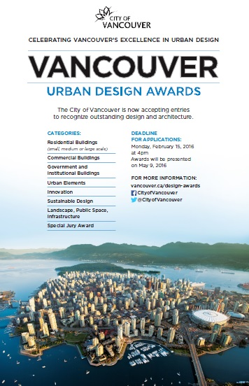City of Vancouver Urban Design Awards Deadline Feb 15, 2016