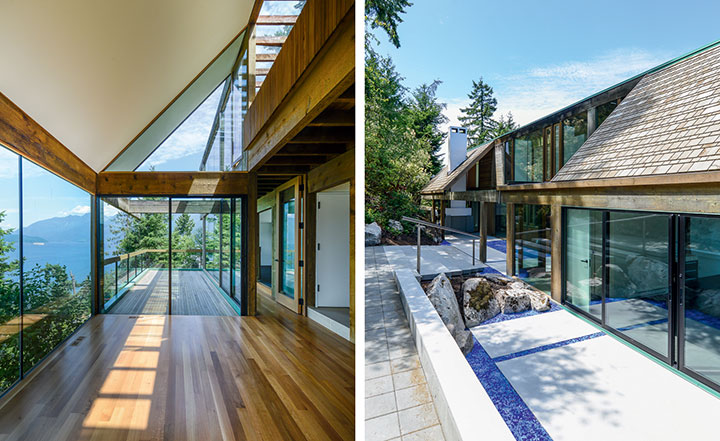 Image: Architect Bruno Freschi has updated his seminal modernist masterpiece, The Staples House. Pictured left: Freschi's changes include transforming upper level balconies into rooms. Right: As well as removing a pond at the front of the house. Courtesy of wallpaper, photo by Kenneth Dyck
