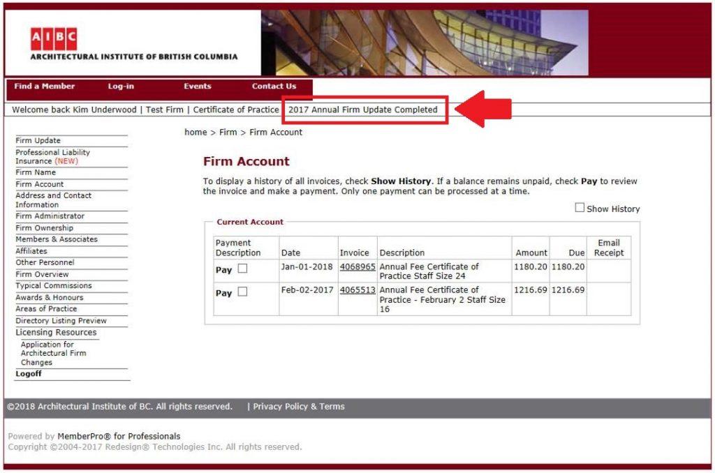 Firm Information Update_Complete Screenshot