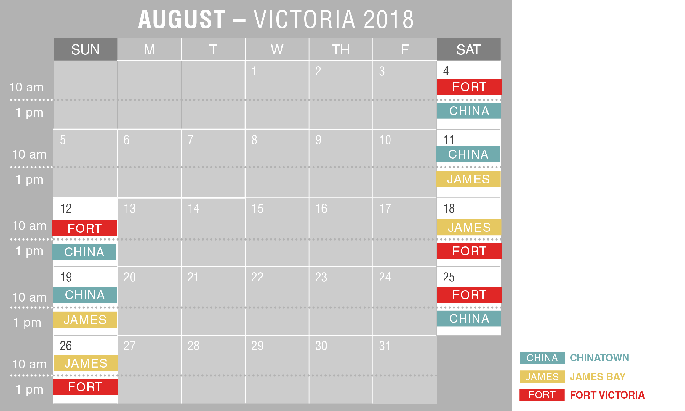 2018 Victoria Walking Tour Schedule August