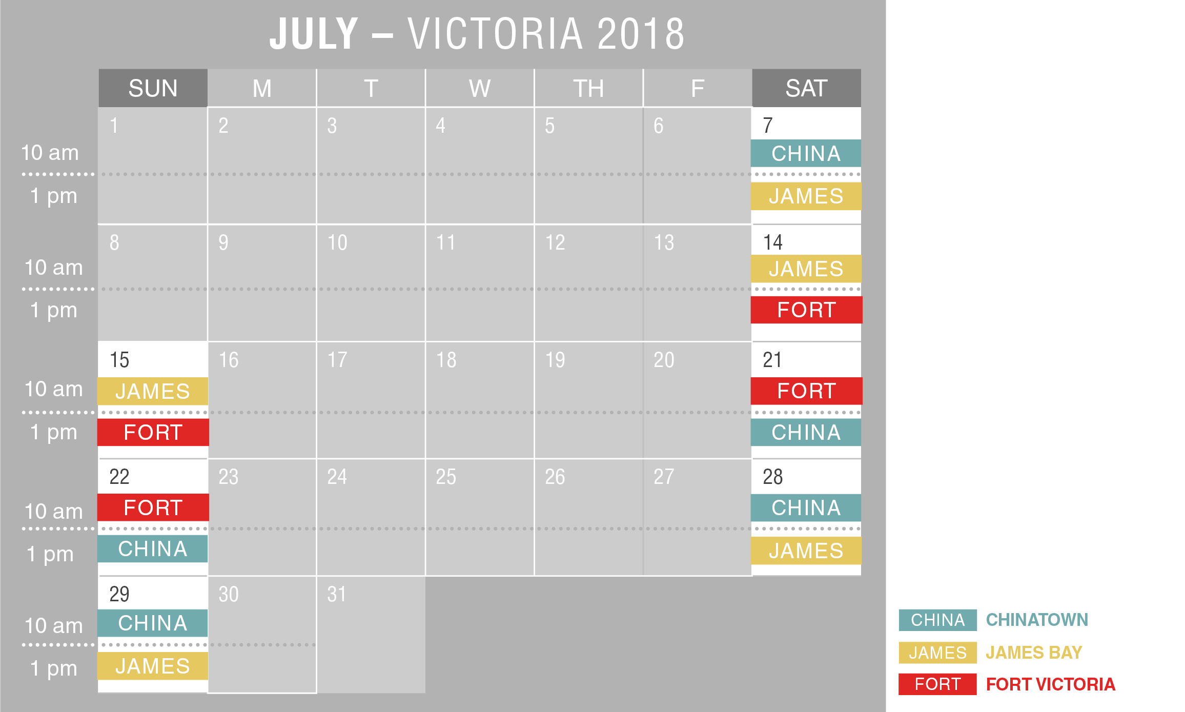 2018 Victoria Walking Tour Schedule July